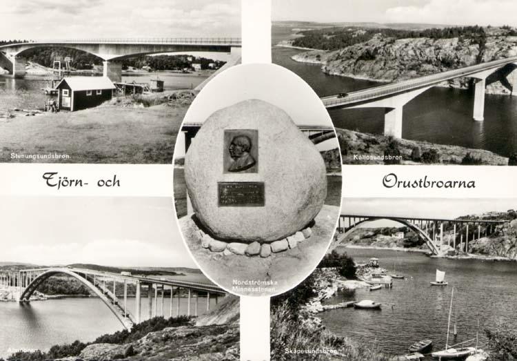 """Tryckt text på kortet: """"Tjörn och Orustbroarna."""" """"Stenungsundsbron, Källösundsbron, Skåpesundsbron, Nordströmska Minnesstenen."""""""