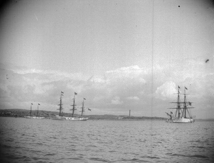 """Enligt text som medföljde bilden: """"Lysekil. Skeppsgossefartygen Najaden, Gladan och Falken från sjön. Liten parad. 24/6 1899""""."""
