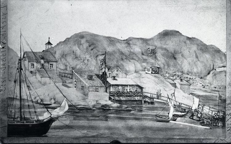 """Enligt text som ristats i emulsionen: """"no: 73 Curman teckning 1853. Cop. Jacobson. Lysekils Hafsbad 1853."""""""