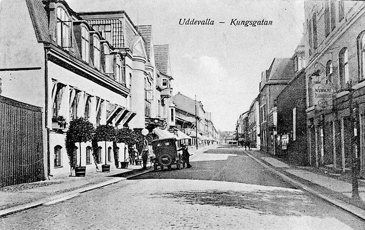 """Tryckt text på vykortets framsida: """"Uddevalla-Kungsgatan""""."""