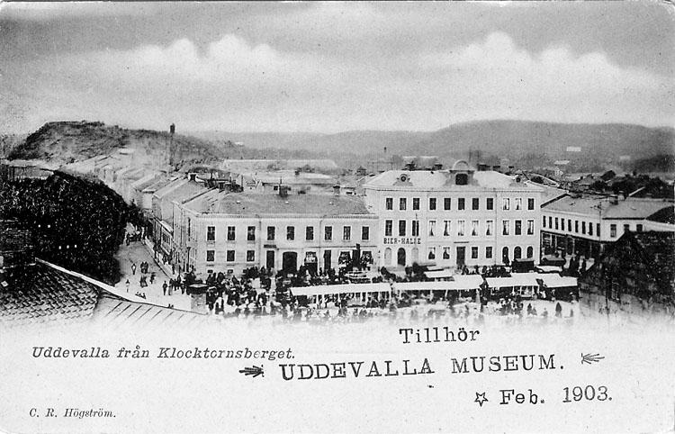 """Tryckt text på vykortets framsida: """"Uddevalla från Klocktornsberget"""".  ::"""