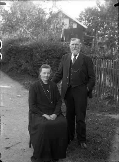 """Enligt fotografens noteringar: """"651 1926. Bagare Blomqvist med fru Munkedal."""""""