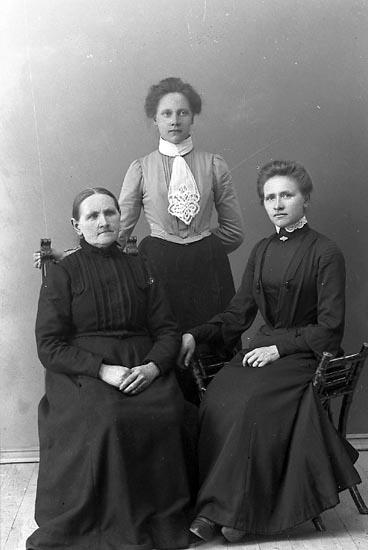 """Enligt fotografens journal nr 1 1904-1908: """"Bohlin Fru med döttrar Stenungsund""""."""