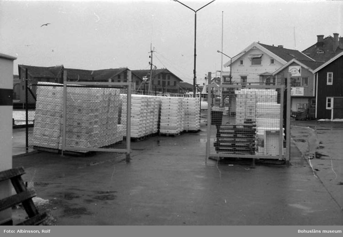 """Enligt fotografens noteringar: """"Mitt på hamnområdet har man byggt en låsbar inhägnad där man förvarar plastlådor.""""  Fototid: 1996 den 12 januari."""