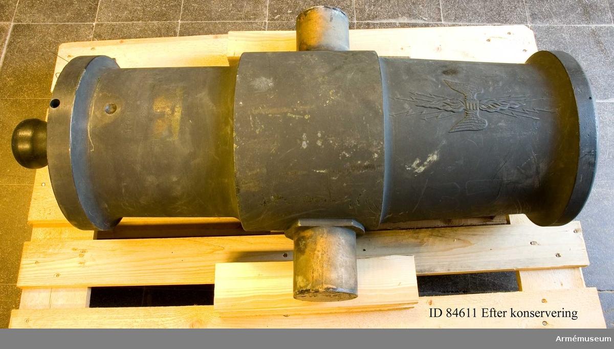 Grupp F I. Märkt Nr 3 3S:10L:2M:. Eldröret tillverkat vid Marieberg. Med lavett.