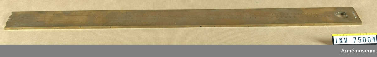 Grupp F:(III(överstruket)) V. Artillerimåttstock i form av en mindre linjal, troligen tysk.