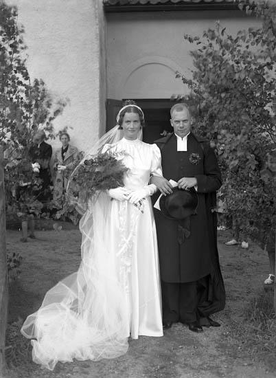 """""""Maja och Arnes bröllop"""" lyder texten till fotografiet"""