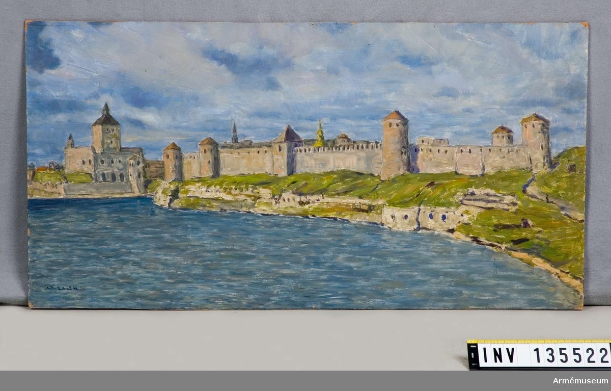 Oljemålning med vy över Narva - Ivangorod.