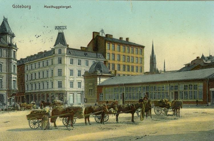 Notering på kortet: Göteborg. Masthuggstorget.
