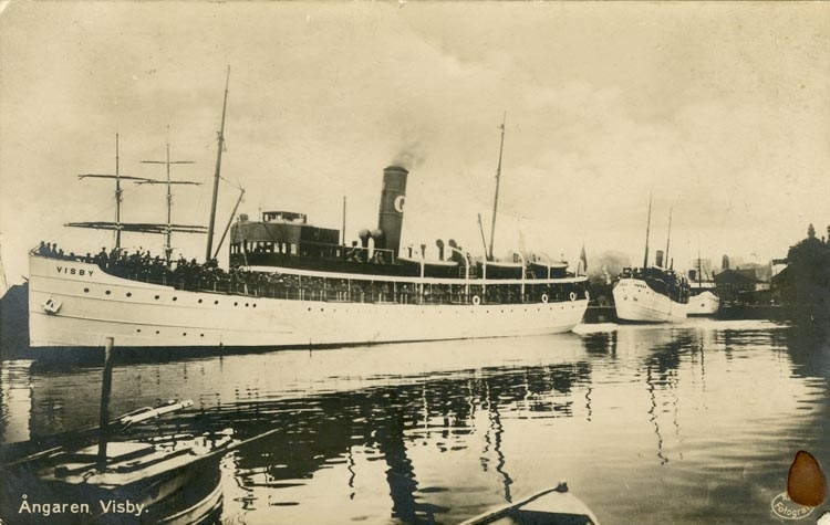 Notering på kortet: Ångaren Visby.