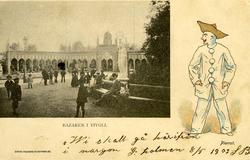 Notering på kortet: Bazaren i Tivoli. Pierrot.