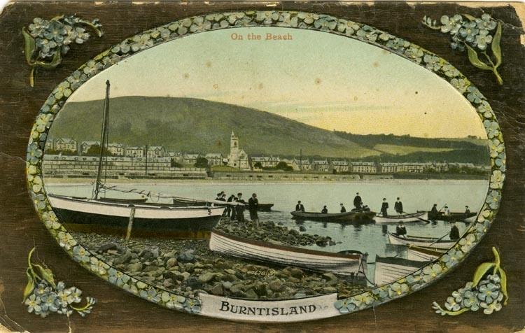 Notering på kortet: Burntisland. On the Beach.