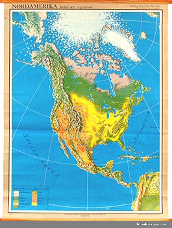 Skolkarta över Nordamerika, märkt nr 18.