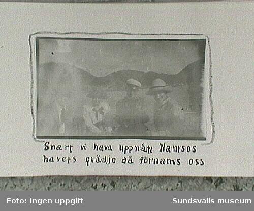 Maja Braathen med Lisa, Gunnar och Tage. Från resa till Trondheim sommaren 1915.