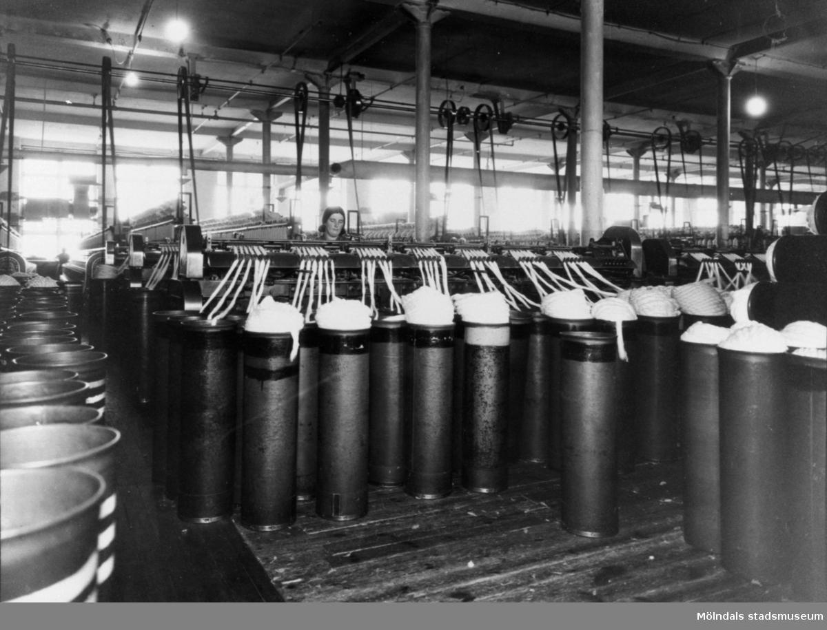 Sträckmaskiner för bomull i Krokslätts fabrik.