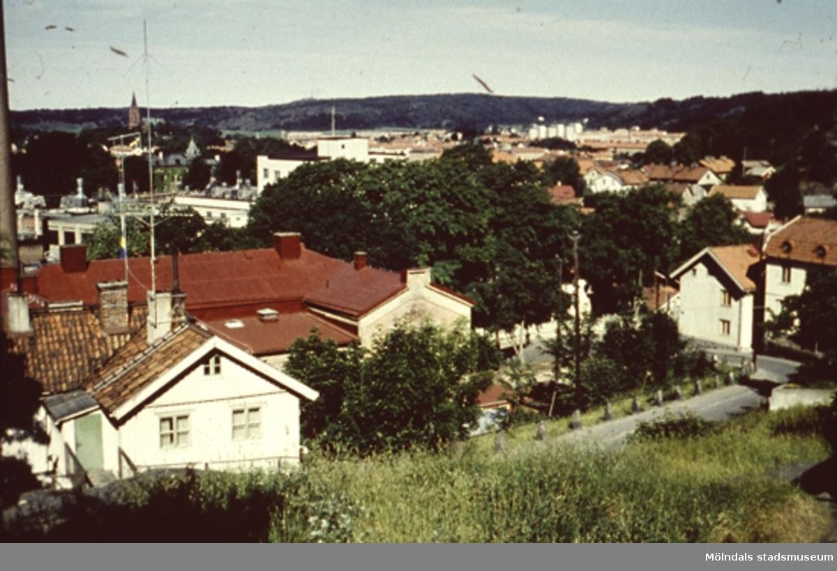 Vy ungefär från Ryets skola, nedför Rygatans backe mot (Norra) Forsåkersgatan. Till vänster ses det stora taket på f.d sjukhuset/polisstationen/museet (Norra Forsåkersgatan 19). Papyrus ligger bakom buskaget. Fässbergs kyrka skymtar i bakgrunden till vänster.