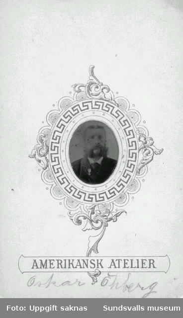 Öhberg, Oskar. Ett exempel på ferrotyp (eng. tintype) i miniatyrporträtt.