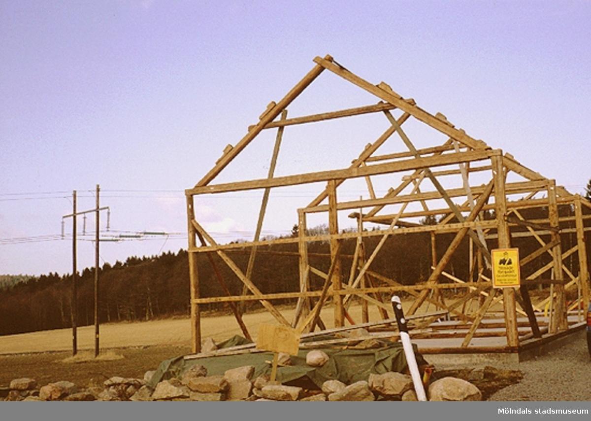 Långåkers lada, som har flyttats från Verner Carlssons gård i Tollered, återuppbyggs, april 1993.