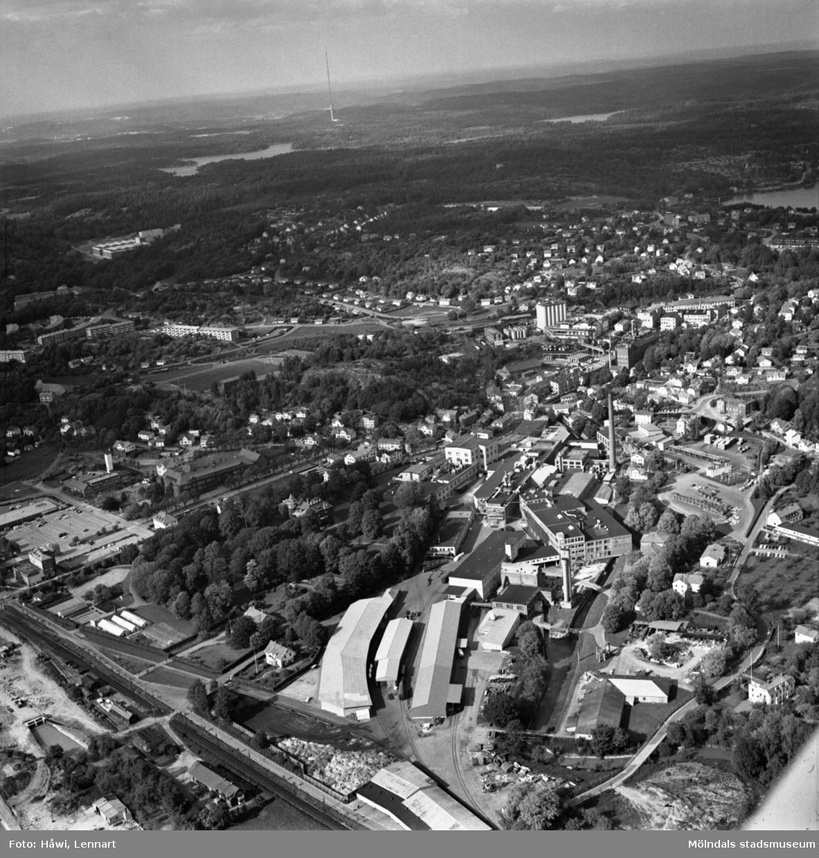 Flygfoto över Papyrus fabriksområde i Mölndal, 9/6 1969. I bildens kant, till höger om fabriksbyggnaderna, syns delar av Yngeredsfors fruktodlingar.