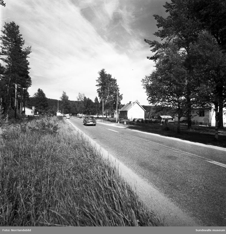 En grupp bilder från Söråker på hus, människor, vägar och bilar.