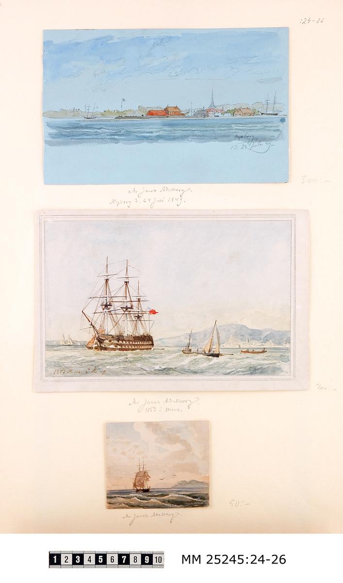 """Akvarellmålning föreställande en havsvy över Nyborg med byggnader och båtar. Blyertsanteckning i bildens nedre högra hörn: """"Nyborg d. 24 juli 49."""" Monterad på vitt papper tillsammans med MM 25245:25,26. Även en blyertsanteckning under bilden: """"Jacob Adelborg Nyborg d.24 juli 1849."""""""