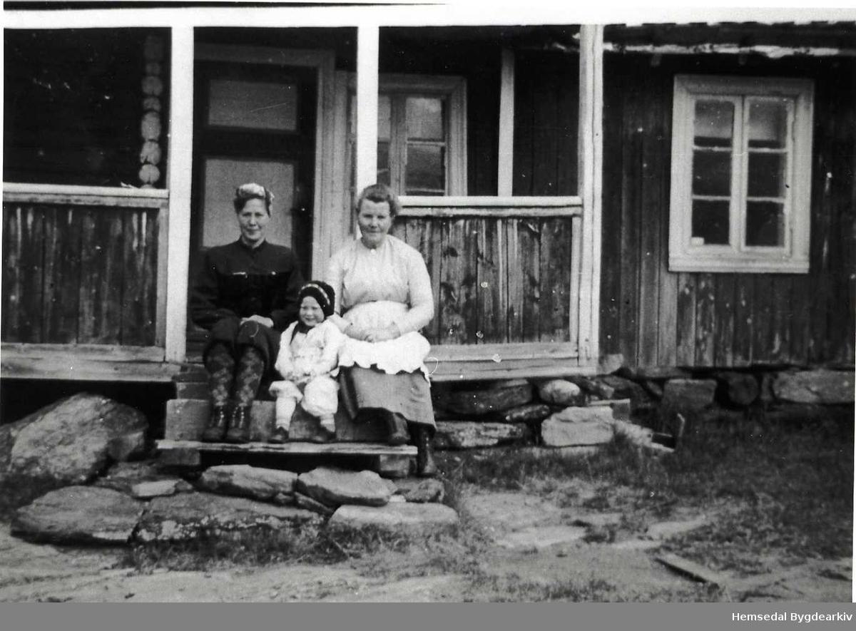 Margit Bjerkheim (heilt til høgre) på stølen til Tollef Jordheim i 1942. Dei andre er turistar som leigde ein del av bua.