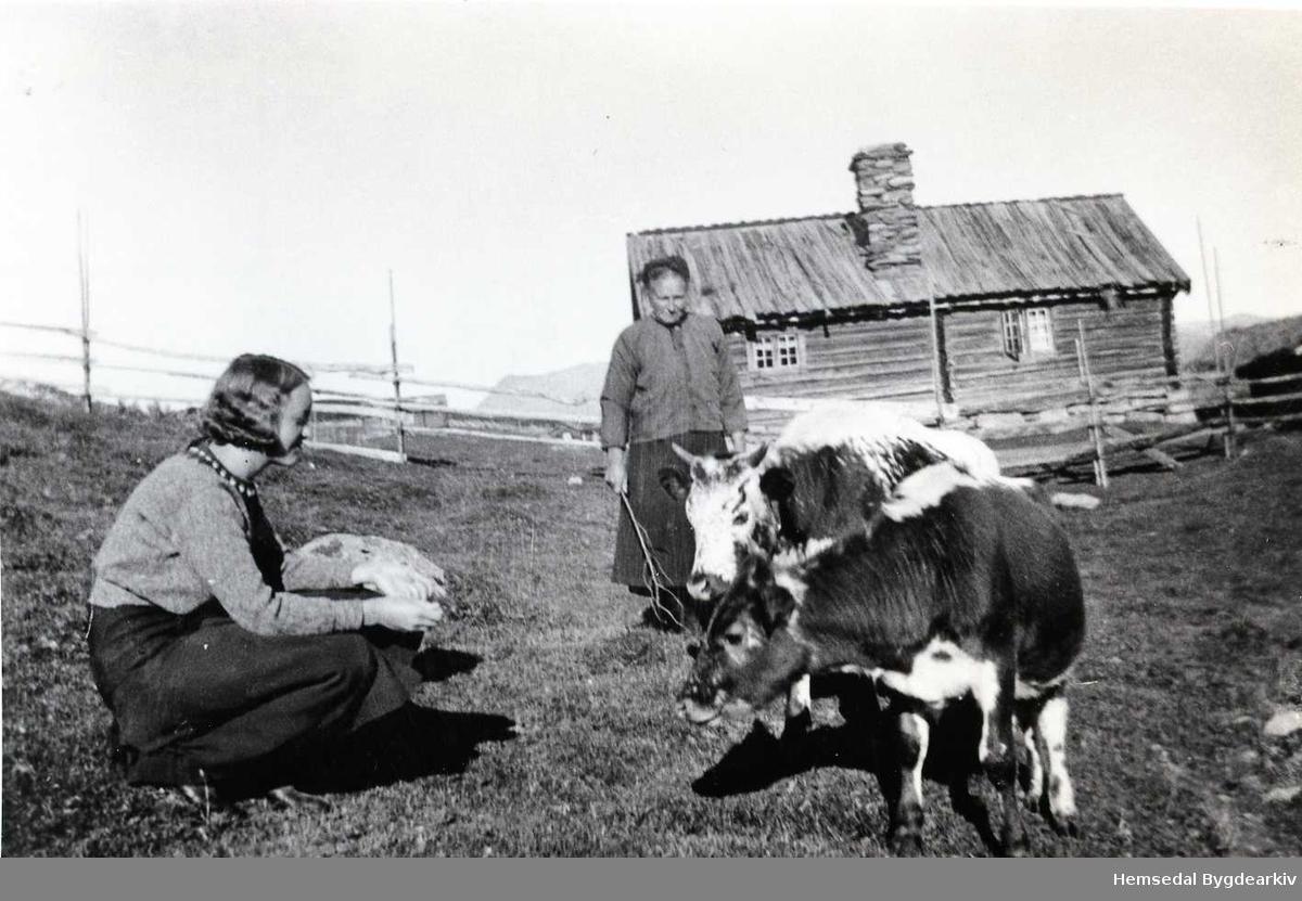 På Medgardsvollen på Eikrestølane i Hemsedal 1930-40. Budeia, Margit Eikre og ei byjente.