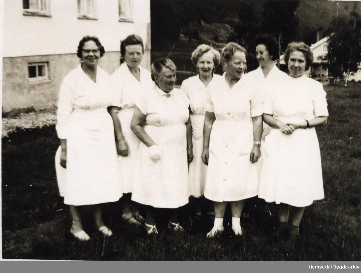 Tilsette på Hemsedal Bygdaheim i 1963. Frå venstre: Anne Asheim, Guro Viljugrein, Guri Pålhus, Gunvor A. Thorset, Margit K. Kirkebøen., Jenny Roteigen og Lina Gram.