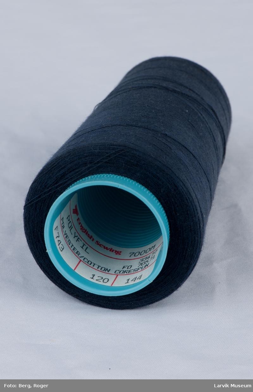 l: blå tråd, plastspole