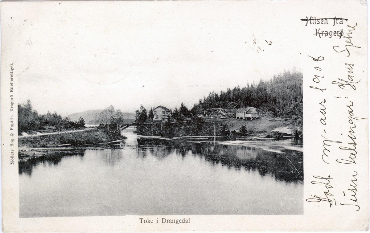 Toke i Drangedal. Helldøla ved utløpet av Neslandsvatn til Tokke. Stemplet 1907.