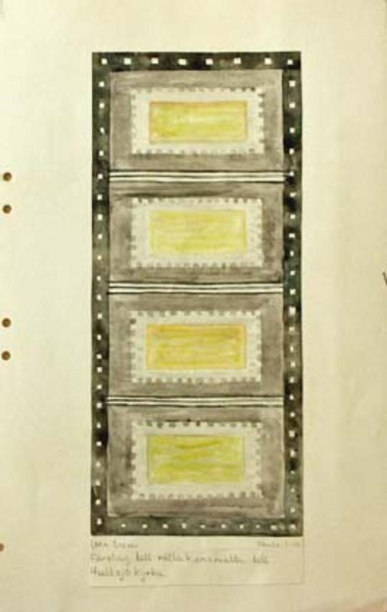 Fyra skisser med förslag till rölakansmatta till Hultsjö kyrka. GHKL 4124:1 Förslag till rölakansmatta till Hultsjö kyrka 1,30 x 3,02 m. Skisstorlek ca 13 x 30 cm, skala 1:10.GHKL 4124:2Förslag till rölakansmatta till Hultsjö kyrka 1,30 x 3,02 m. Skisstorlek ca 13 x 30,5 cm, skala 1:10.GHKL 4124:3Förslag till rölakansmatta till Hultsjö kyrka 1,30 x 3,02 m. Skisstorlek ca 13 x 30,5 cm, skala 1:10.GHKL 4124:4Förslag till rölakansmatta till Hultsjö kyrka 1,30 x 3,02 m. Skisstorlek ca 13 x 30 cm, skala 1:10.BAKGRUNDHemslöjden i Kronobergs län är en ideell förening bildad 1990. Den ideella föreningen ersatte Kronobergs läns hemslöjdsförening bildad 1915.Kronobergs läns hemslöjdsförening hade butiksverksamhet och en vävateljé med anställda väverskor och formgivare där man vävde på beställning till offentliga miljöer, privatpersoner och till olika utställningar.Hemslöjden i Kronobergs län har idag ett arkiv med drygt 3000 föremål, mönster och skisser från verksamheten och från länet. 1950-talet var de stora beställningarnas tid och många skisser och mattor till kyrkorna kom till under detta årtionde.