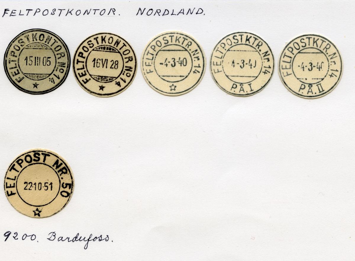 Stempelkatalog  Oslo, Feltpostkontorer, Oslo