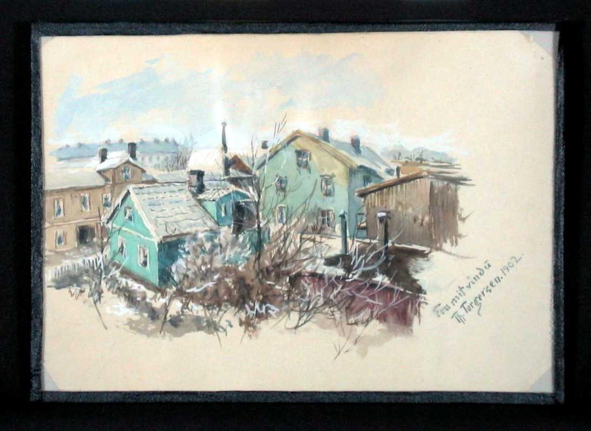 Utsikt over bebyggelse i by eller tettsted