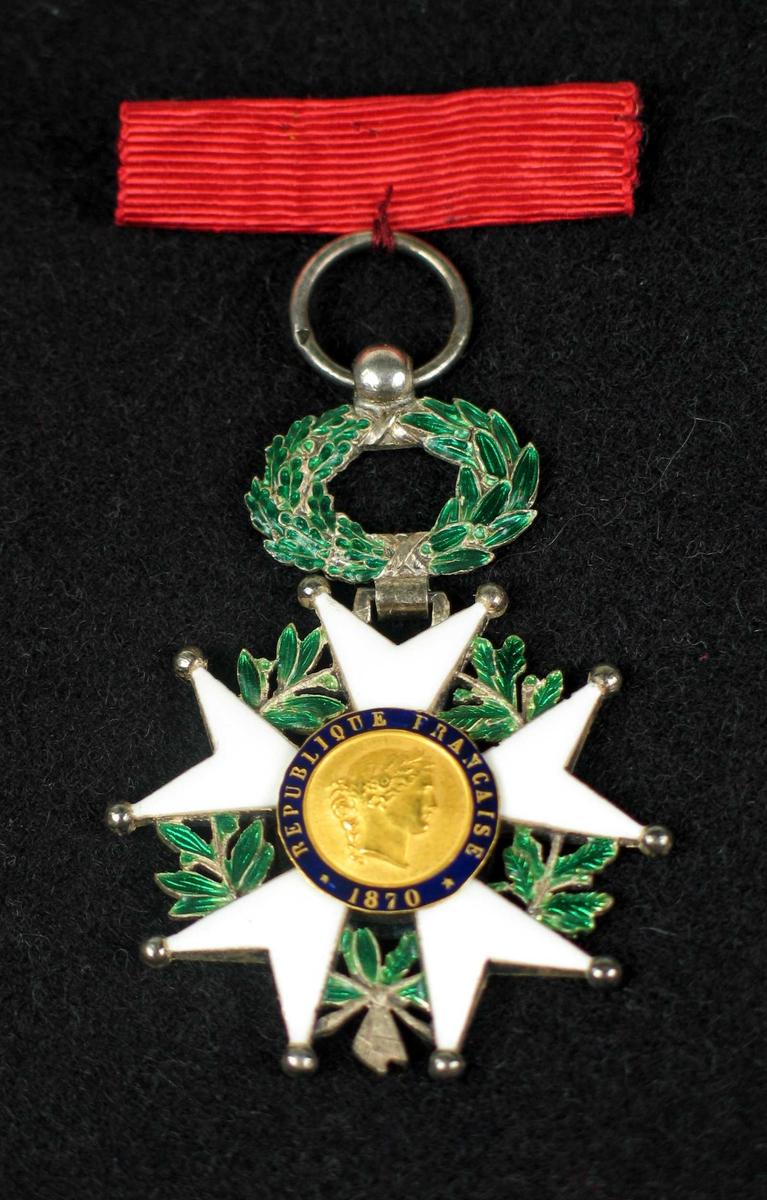 Medalje i gull, sølv og emalje. Bladkrans i hvitt og grønt. I midten et kvinnehode i gull med innskripsjon  på blå bakgrunn. på baksiden to franske flagg i kors. Hempe og rødt bånd i silke. Medaljen ligger i svart eske med gullkant.