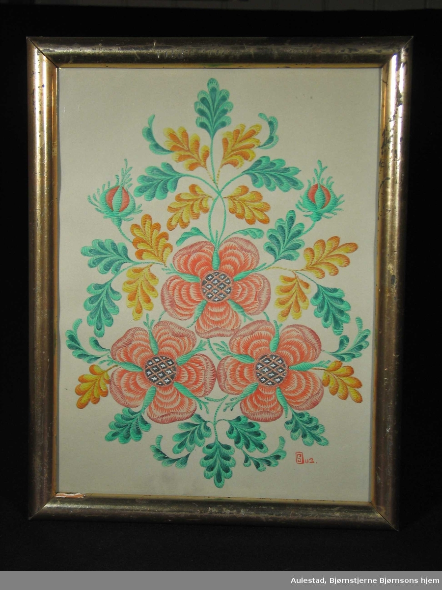 Røde nyperoser og knopper med gult og grønt bladverk.
