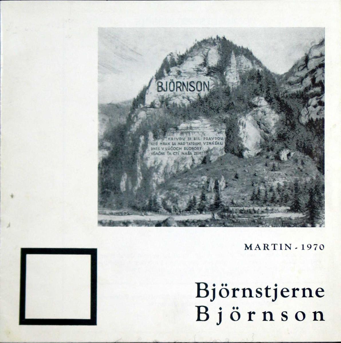 Forsiden viser det påtenkte Bjørnson-minnesmerke. Katalogen har et kort sammendrag på englesk bakerst. 10 sider.