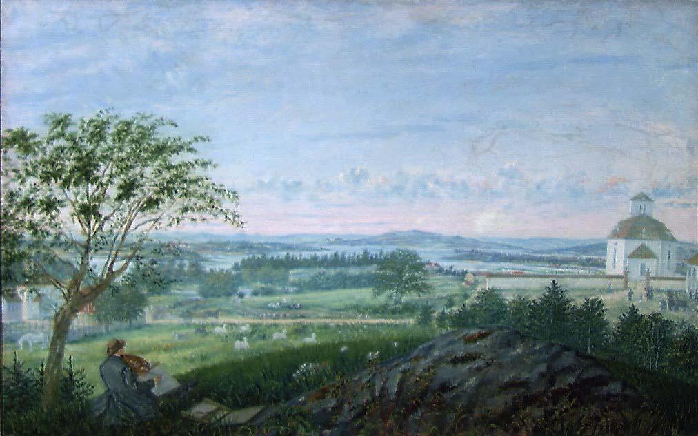 Utsikt mot Vang kirke [Maleri]