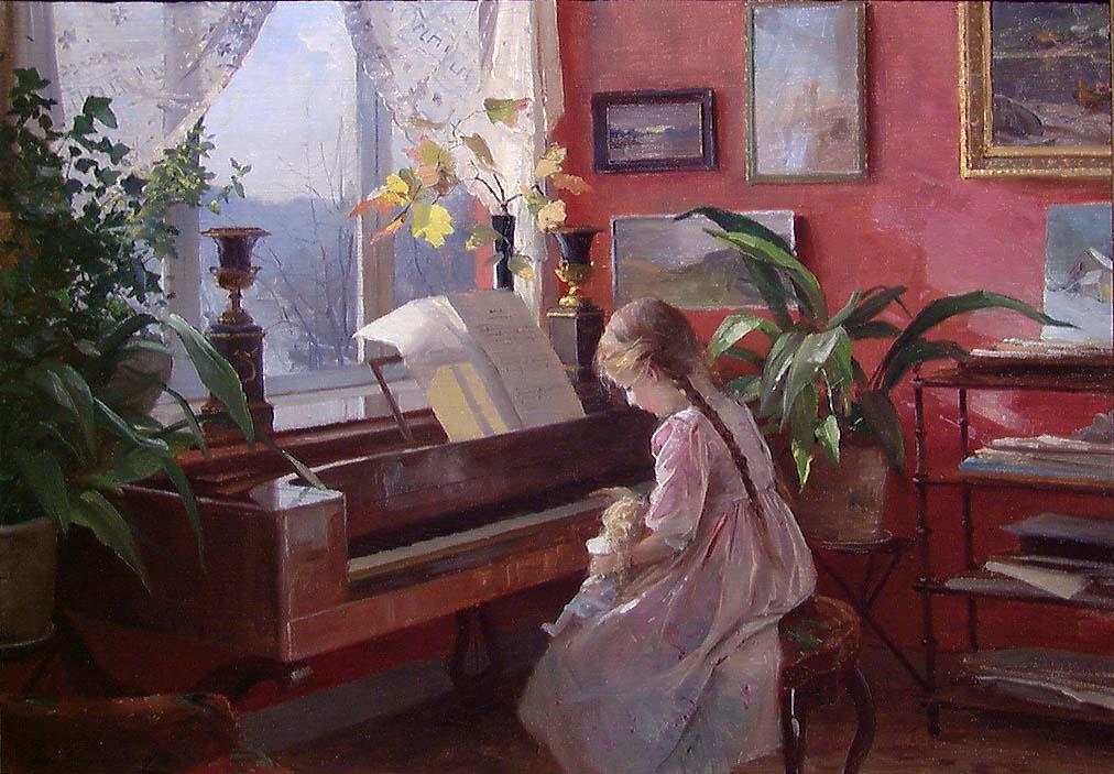 Interiør. Victoria ved pianoet [Maleri]