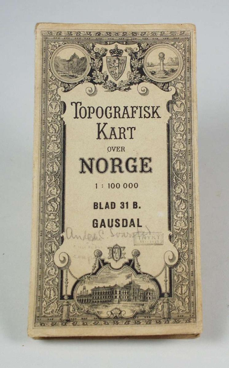 Et kart over Gausdal i målestokk 1 : 100 000.