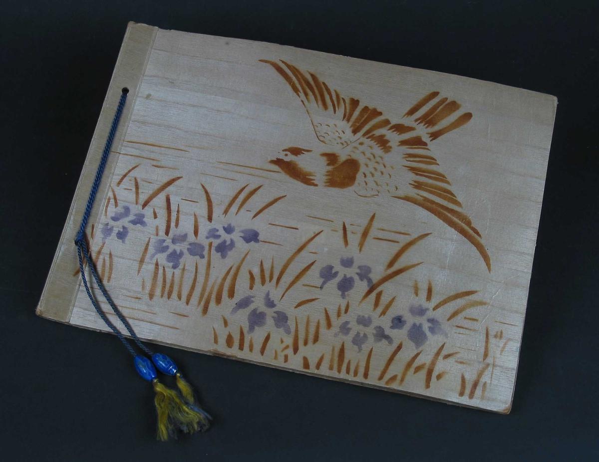 Fotoalbum med lysebrunt omslag med fuglemotiv. Blå tvinnet silkesnor i ryggen med kuler nederst. Arkene er av brun kartong.