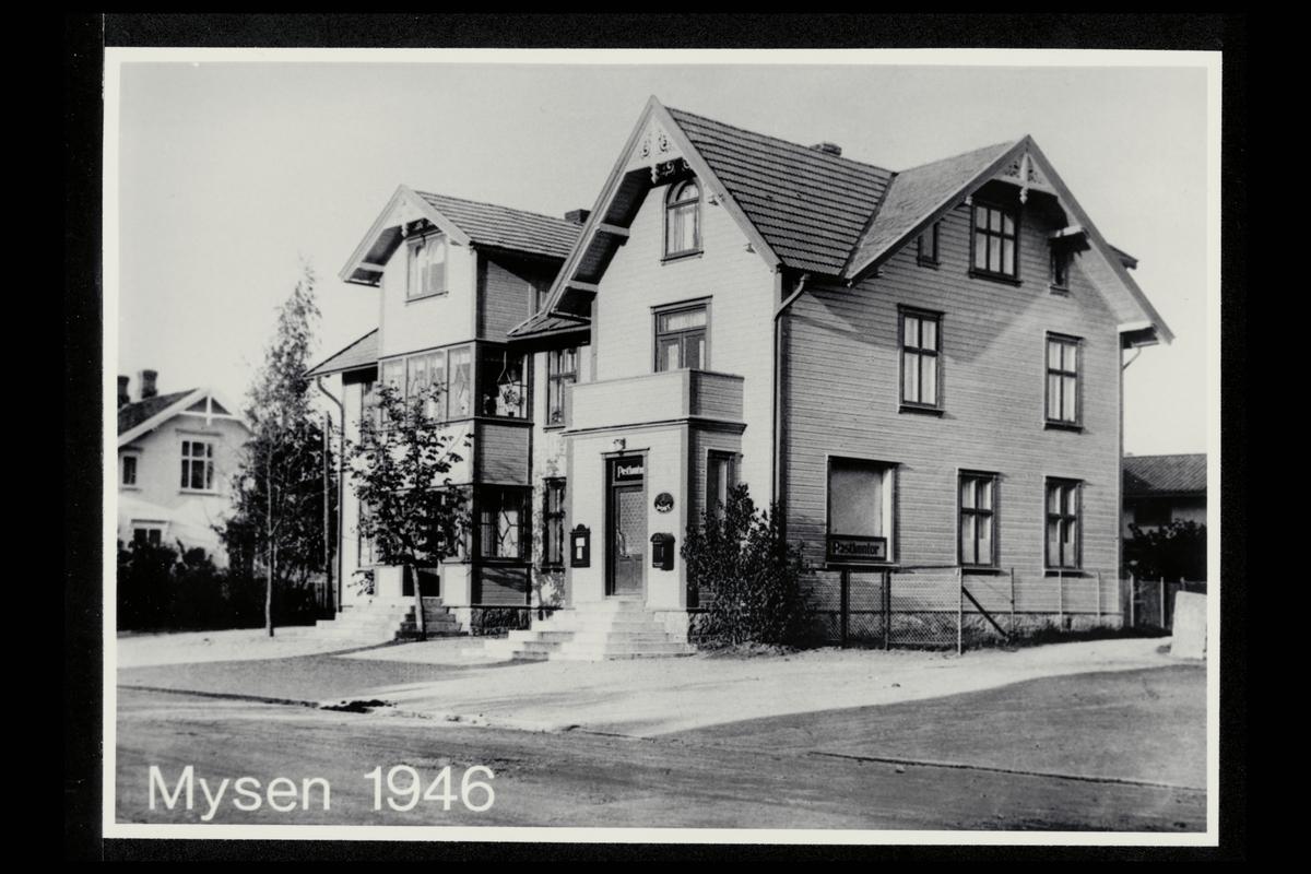 eksteriør, postkontor, 1850 Mysen, postkasse, postskilt