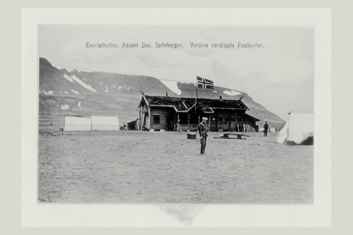 eksteriør, postkontor, Advent Bay, Spitsbergen, mann