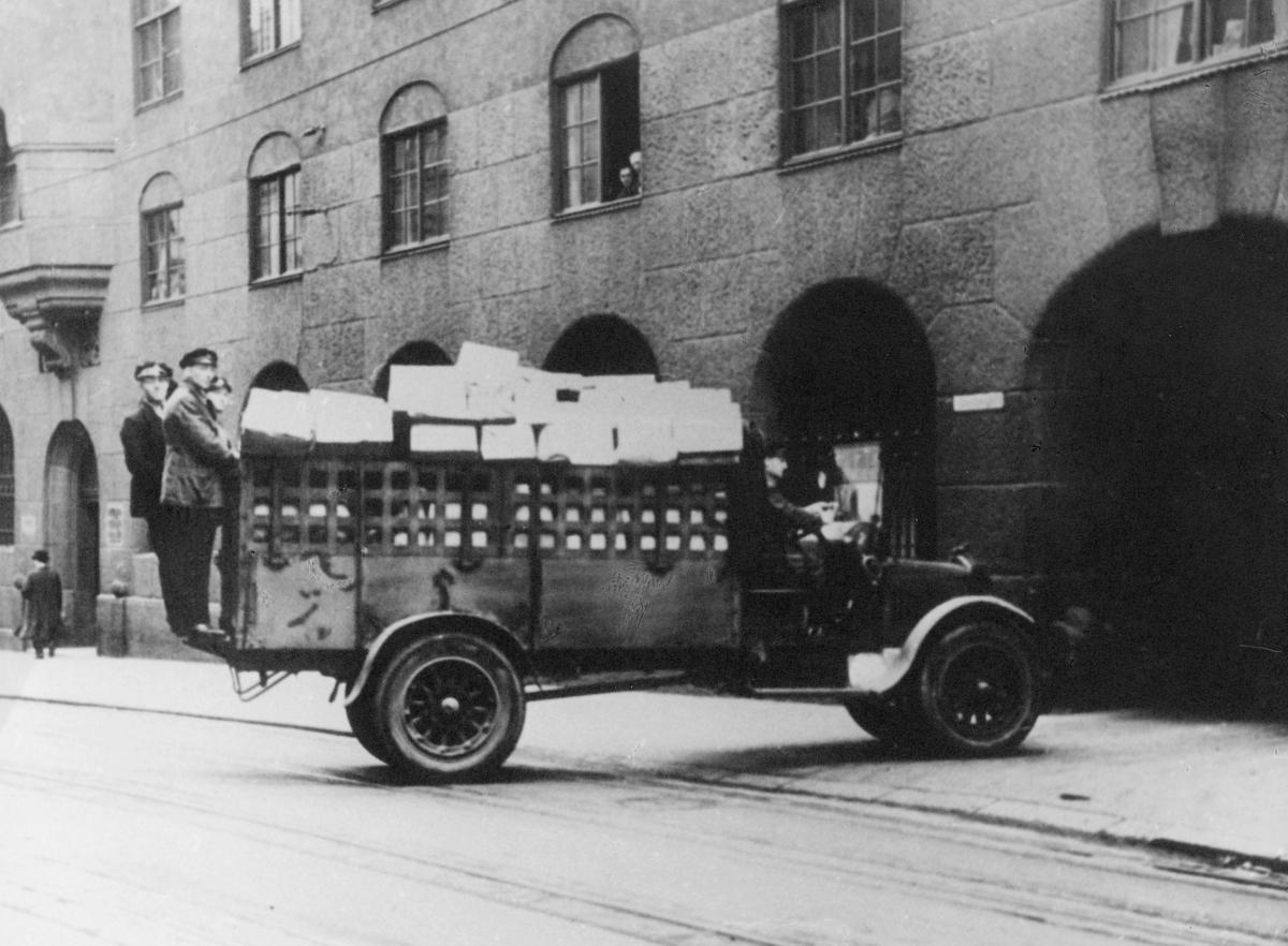 transport, bil, Oslo postkontor, lastebil, Fiat, pakker, menn