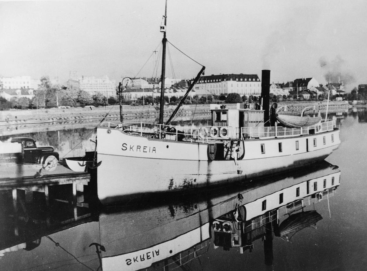 transport båt, eksteriør, Mjøsa, D/S Skreia, ved kai