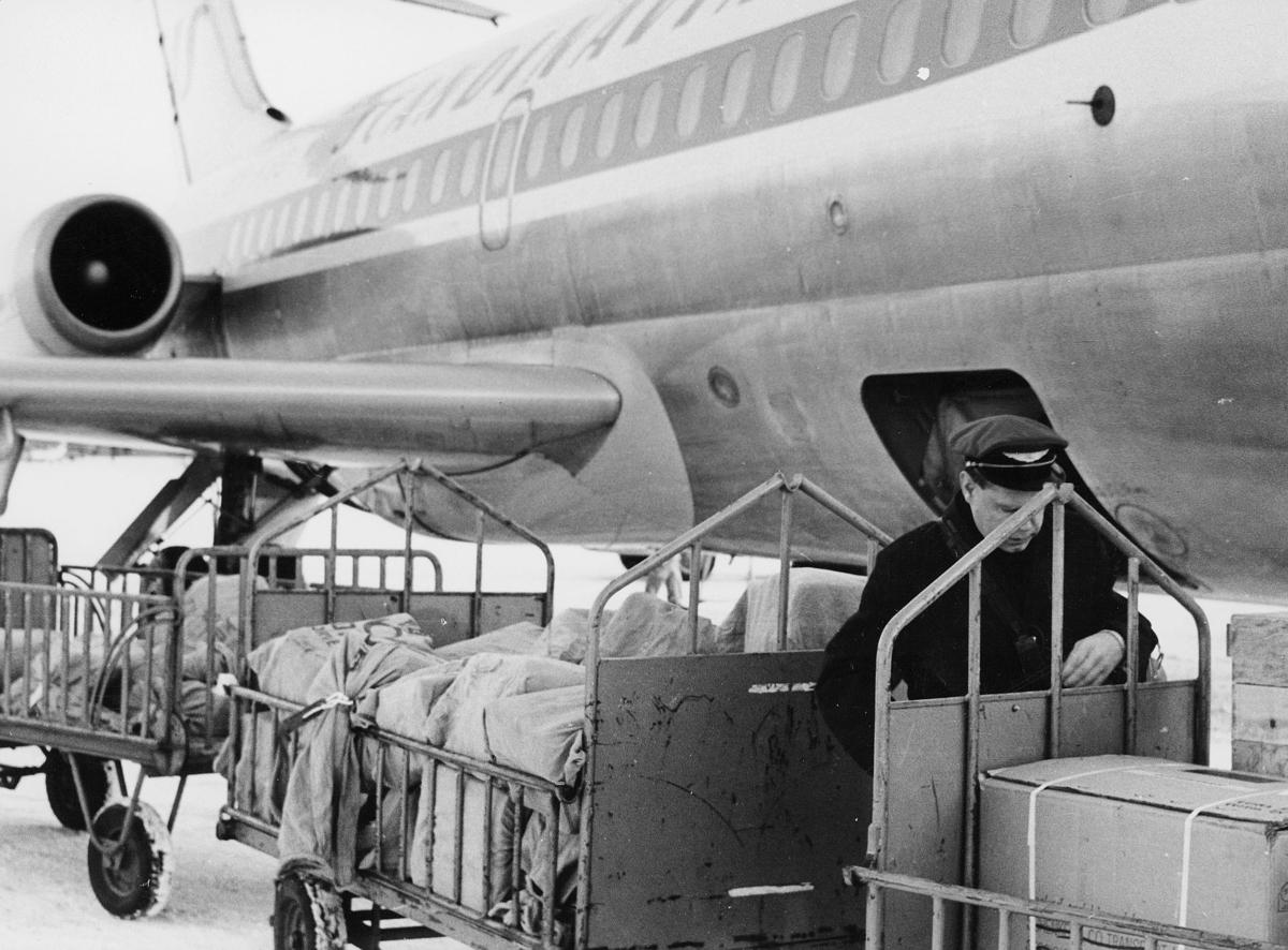 transport, fly, på bakken, Nord-Norge, DC 9. SAS
