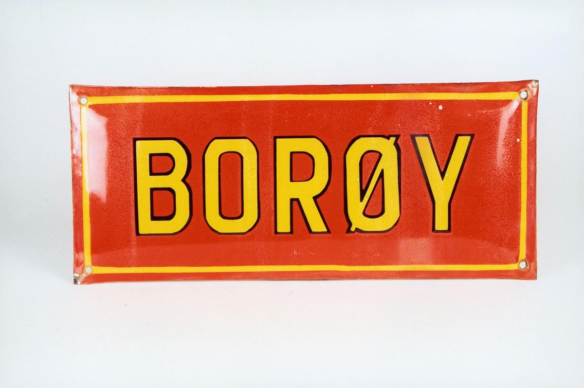 Postmuseet, gjenstander, skilt, stedskilt, stedsnavn, Borøy.