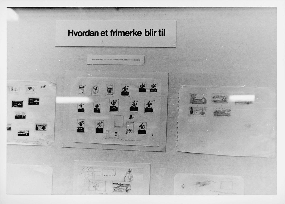 markedsseksjonen, filateli, hvordan et frimerke blir til, utkast og tegninger til speiderleir