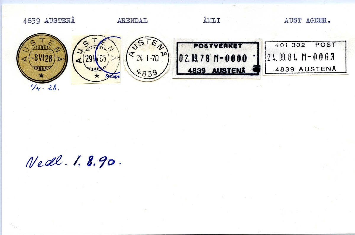 Stempelkatalog, 4839 Austenå, Arendal, Åmli, Aust-Agder