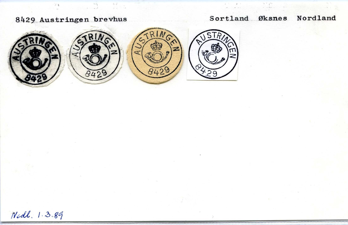 Stempelkatalog, 8429 Austringen brevhus. Sortland postkontor. Øksnes kommune. Nordland.