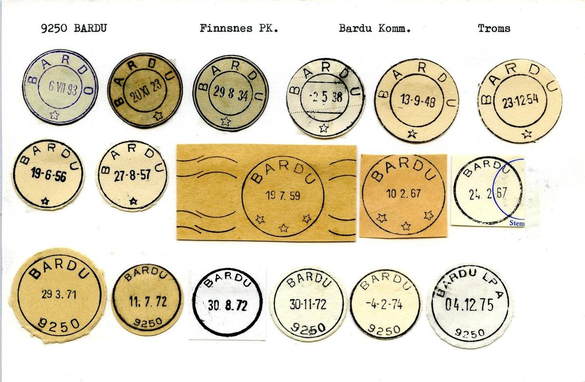 Stempelkatalog, 9250 Bardu postkontor B. Finnsnes postkontor. Bardu kommune. Troms fylke.
